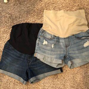2 maternity jeans shorts